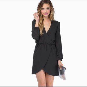 Black Long Sleeve Wrap Dress Size Small